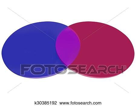 Clip Art Of Red Blue Venn Diagram Two Circles Overlapping K30385192