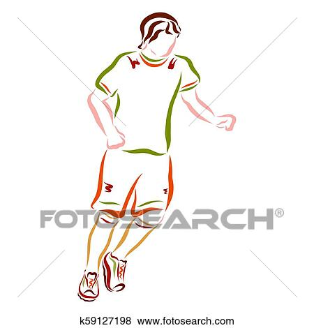 Running man, footballer, athlete, training and competition Stock  Illustration