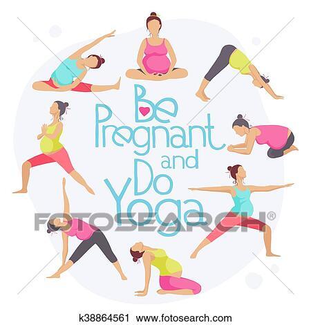 set of yoga poses for pregnant women clipart  k38864561