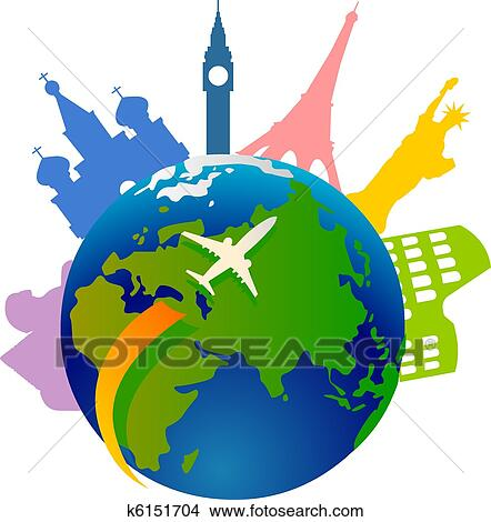 clipart of traveling around the world k6151704 search clip art rh fotosearch com world clip art and hands world clipart free