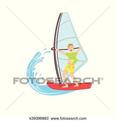 Type Planche Voile A Les Mer Clipart K39396883 Fotosearch