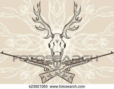 Clipart - venado, cráneo, y, cruzado, rifles k23921065 - Buscar Clip ...