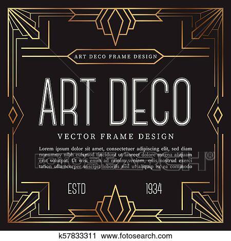 Vintage Frame Art Deco Style Vector Illustration Clipart