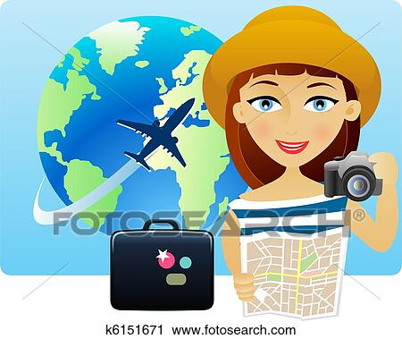 Clipart Of Young Woman Travelling Around The World K6151671