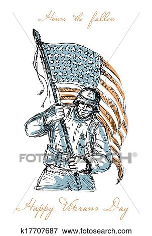 Stock Illustration Of American Soldier Happy Veterans Day Greeting
