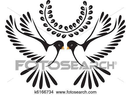 Colombe ou oiseau vol clipart k6166734 - Dessin oiseau en vol ...