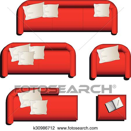 Furniture Top View Set 27 Clipart K30986712 Fotosearch