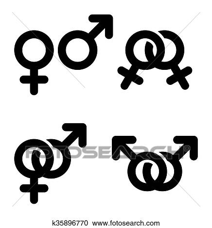 Clipart Of Male And Female Symbols Combination K35896770 Search