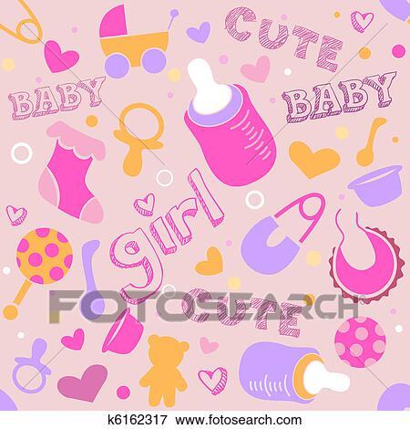 Arquivos De Ilustração Menina Bebê Fundo K6162317 Busca De Clip