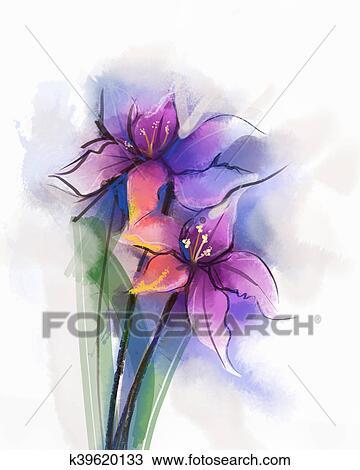 Fiori Watercolor.Pittura Watercolor Viola Giglio Fiori Fiore Disegno