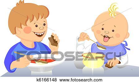 Clip Art Vektor Niedlich Kinder Essen K6166148 Suche Clipart