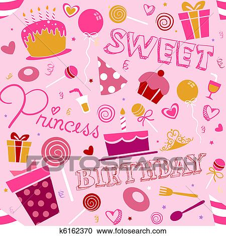 Verjaardag Girl Achtergrond Motieven Stock Illustraties K6162370