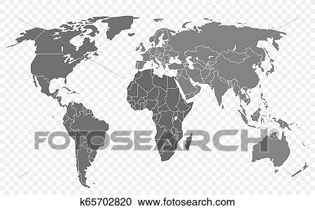 World map isolated on transparent background  Layered infographic template  Clipart