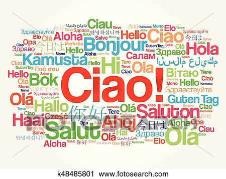 Clipart of ciao hello greeting in italian word cloud k48485801 ciao hello greeting in italian word cloud in different languages of the world background concept m4hsunfo