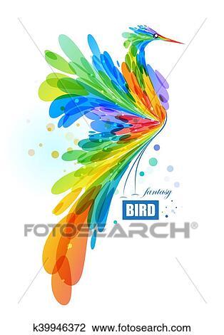 Coloridos Fantasia Passaro Clipart K39946372 Fotosearch