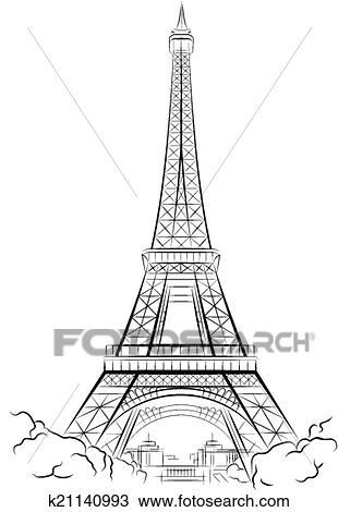 Dessin Tour Eiffel Dans Paris Clipart K21140993