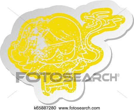 Clipart Of Distressed Old Sticker Cute Kawaii Smoking A Joint