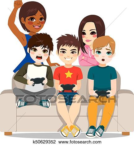 Clipart Of Friends Playing Video Games K50629352 Search Clip Art