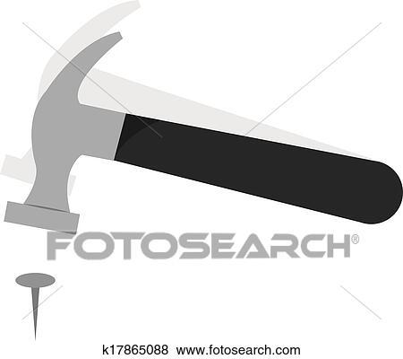 Clip Art Of Hammer Nail K17865088 Search Clipart Illustration