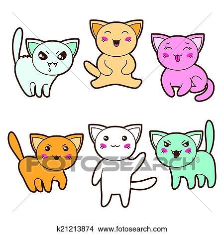 Clipart set di kawaii gatti con differente for Immagini disegni kawaii