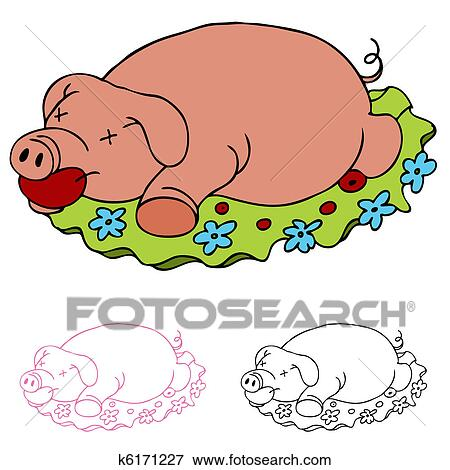 Clip Art of Luau Roasted Pig k6171227 - Search Clipart ...