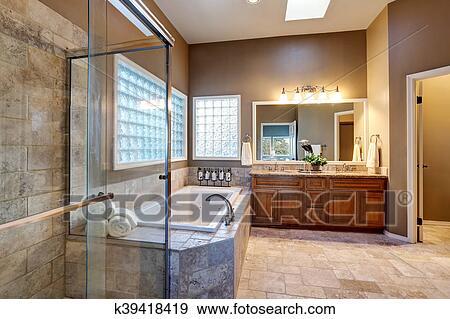 Colección de fotografía - lujo, cuarto de baño, interior, con ...