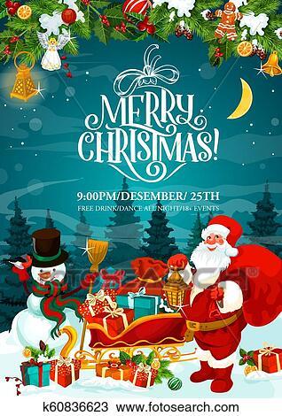 Merry Christmas Santa Party Invitation Card Clipart