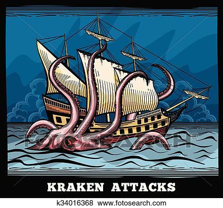 Clipart Navigation Navire Et Kraken Monstre Poulpe Vecteur