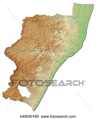 Relief Map Of Southern Africa.Relief Map Kwazulu Natal South Africa 3d Rendering