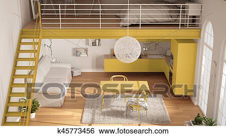Banque d\'Illustrations - scandinave, minimaliste, grenier, one-room ...