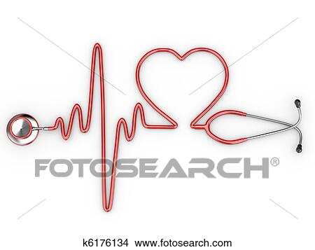 Dessin Stéthoscope dessins - stéthoscope, et, a, silhouette, de, coeur, et, ecg