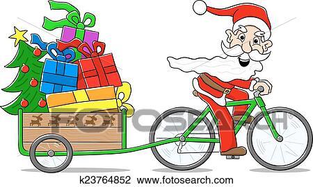 Babbo Natale In Bicicletta.Babbo Natale Su Bicicletta Trasmettere Distribuire Regali