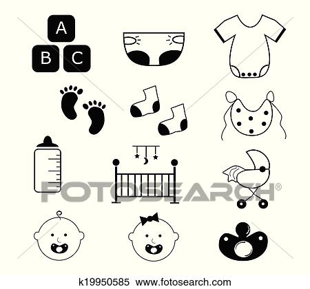 clipart of baby items k19950585 search clip art illustration rh fotosearch com baby girl items clipart baby items clip art free images