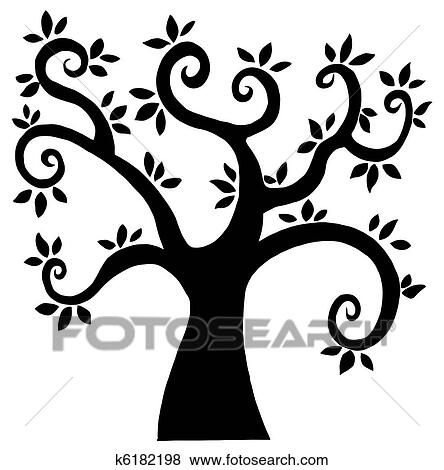 Clip Art Of Black Cartoon Tree Silhouette K6182198