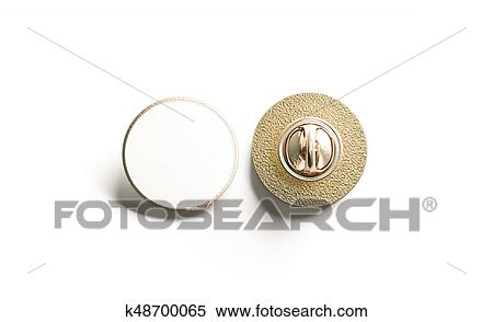 Blank white round gold lapel badge mock up, front back Stock Photography
