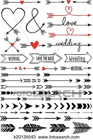 clipart of hand drawn arrows vector set k20135543 search clip art