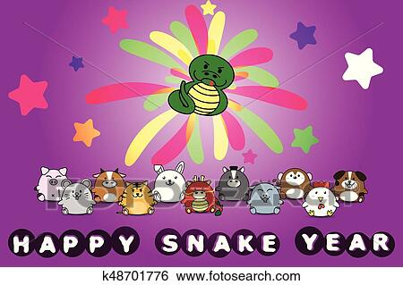 clip art happy new year for snake year of animal symbol chinese zodiac horoscope in