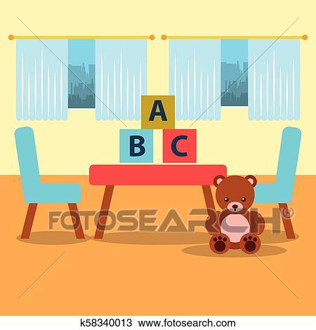 Klassenzimmer, kinder, tisch, stuhl, bär, teddy, blöcke, und