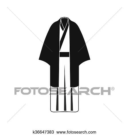 Dessin Noir Japonaise Kimono Icone Simple Style K36647383