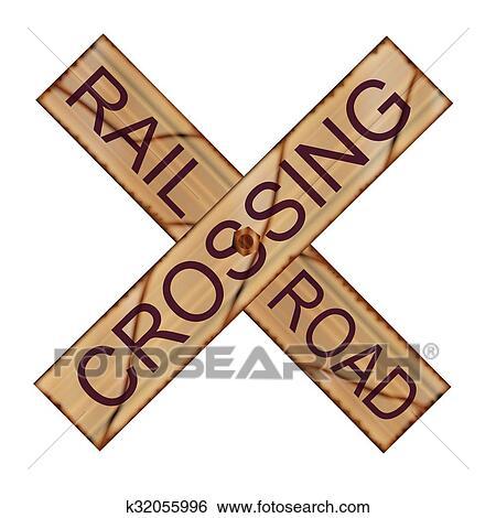 Rail Crossing Wooden Sign Clip Art