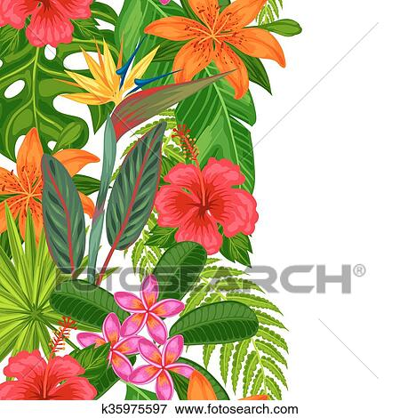 Clipart Seamless Vertical Frontiere A Exotique Usines