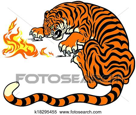 Tiger Playing With Fire Clipart