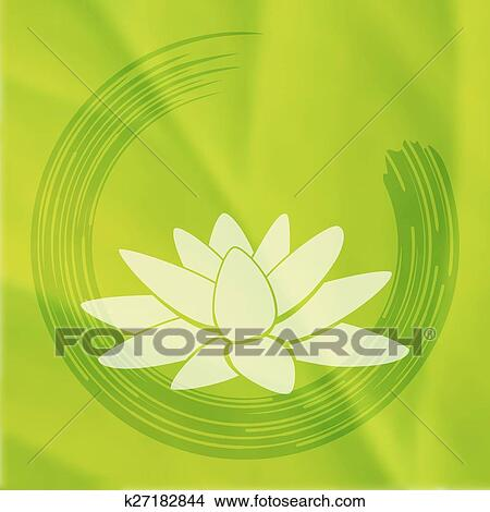 Clipart Of Vector Enso Zen Circle With Lotus Flower K27182844