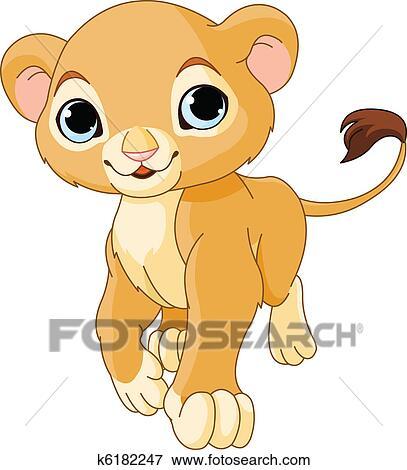 clip art of walking lion cub k6182247 search clipart illustration rh fotosearch com lion cub clipart images lion cub scout clipart