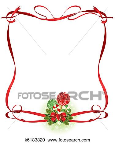Clipart Weihnachten Rahmen Mit Zuckerstange K6183820 Suche