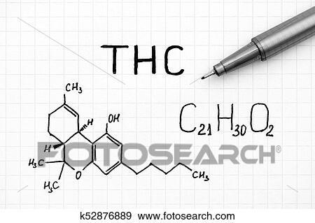 Chemische Formel Von Thc Mit Schwarz Pen Stock Foto