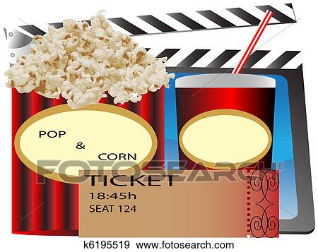 Cinema Popcorn And Soda Clip Art K6195519 Fotosearch