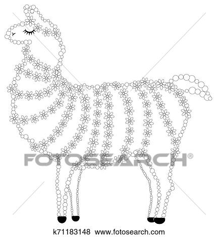 Coloring page of cartoon lama. Lama, coloring for adults and ... | 470x432