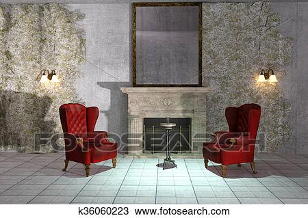 Antique Style Abandoned Creepy Interior With Vintage Wingback Chairs And Fireplace 3d Illustration