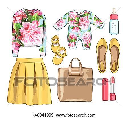 Dama, moda, conjunto, de, estación del resorte, outfit., ilustración, elegante, y, moderno, clothing., vestido, bolsa, accesorios, gafas de sol, taco